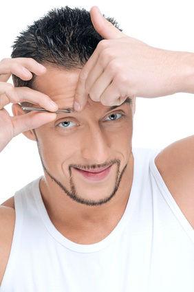 Male cosmetic. Tweezer eyebrow.